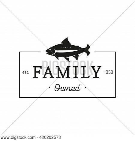 Trout Logo With Family Owned Lettering In Vector.