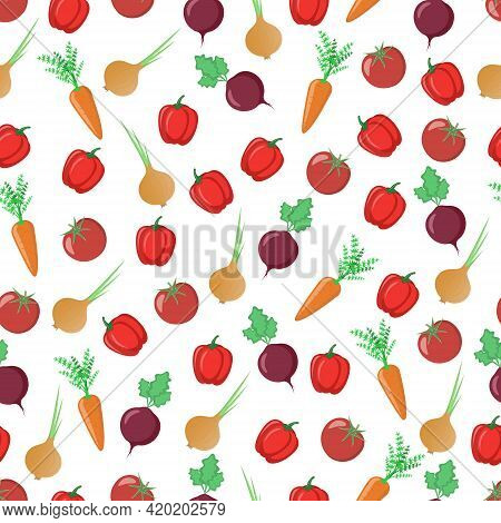 Seamless Pattern With Vitamin Carrots, Sweet Peppers, Juicy Tomatoes With Onions And Beets. This Veg