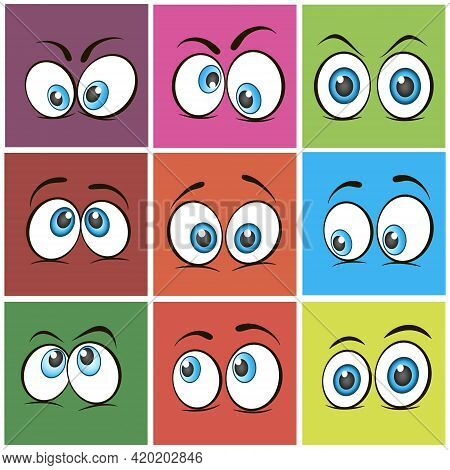 Cartoon Eyes. Set Of Expressive Eyes. Happy And Angry Eyes Looking Human Eyes. Comic And Funny Eyes.