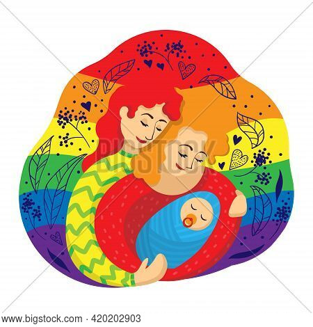 Gay Female Couple Of Two Mothers Embracing A Newborn Baby Against The Background Of An Lgbt Flag. Ve