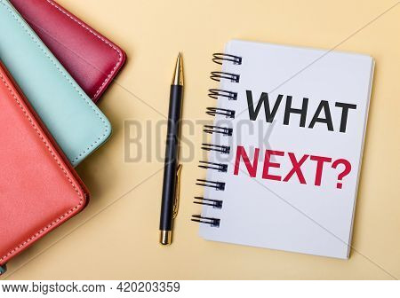 Multi-colored Diaries Lie On A Beige Background Next To A Pen And A Notebook With The Words What Nex