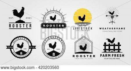 Set Rooster Chicken Livestock Logo. Weather Vane, Chick, Farm Logo Vector Illustration Design