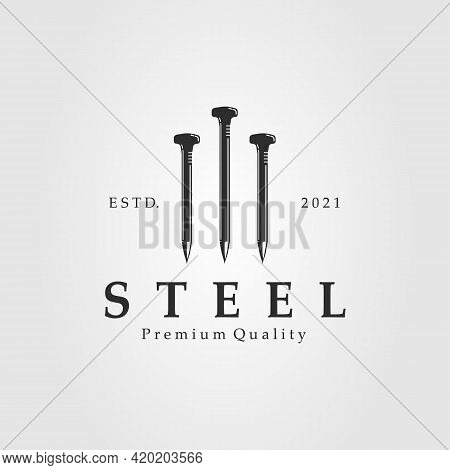 Steel Nail Isolated Logo Template Vector Illustration Design. Silhouette Nails Icon