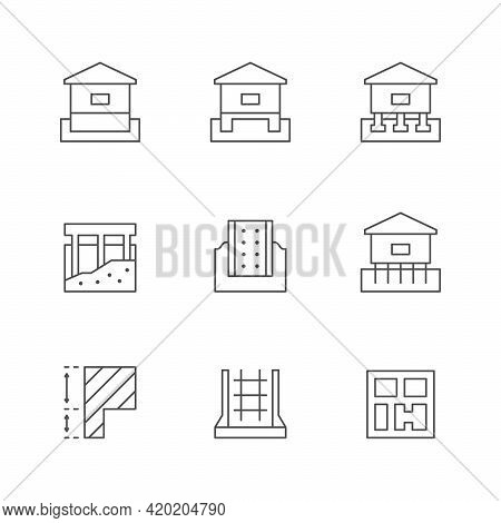 Set Line Icons Of Foundation Isolated On White