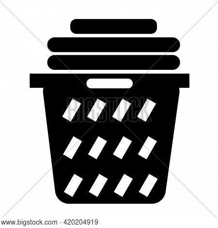 Laundry Basket Icon On White Background. Clothes Basket Sign. Laundry Household Symbol. Flat Style.