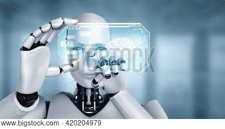Robot Humanoid Hold Hud Hologram Screen In Concept Of Ai Thinking Brain, Artificial Intelligence And