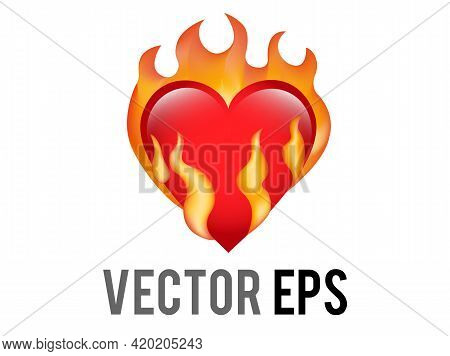 The Isolated Vector Classic Love Red Glossy Heart On Fire Icon, Used For Desire, Lust, Sense Of Burn
