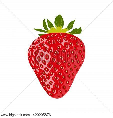 Ripe Strawberry Isolated On A White Background Close-up. Flat Closeup Of Strawberries On White Backg