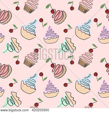 Seamless Pattern With Cakes. Vector. Assorted Custard Cakes On A Pink Backing, Solid Repeating Patte
