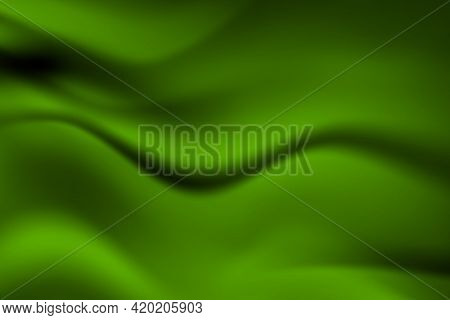 Silk Green Background. Abstract Vector Pattern With Copy Space. Liquid Wave Texture, Smooth Drapery