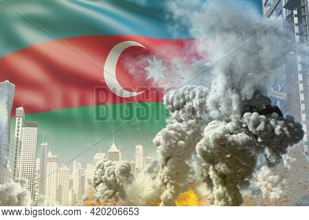 Huge Smoke Pillar With Fire In The Modern City - Concept Of Industrial Disaster Or Terroristic Act O