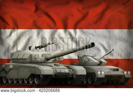 Tanks On The Austria Flag Background. Austria Tank Forces Concept. 3d Illustration