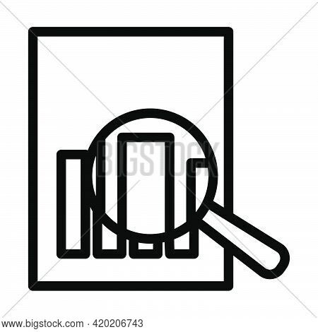 Magnificent Glass On Paper With Chart Icon. Editable Bold Outline Design. Vector Illustration.