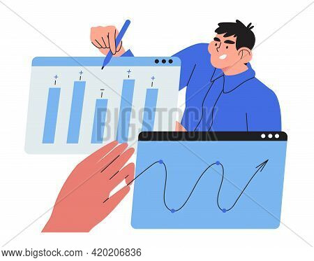 Economics Strategy, Analysis Of Sales, Statistic, Data Collection Illustration For Banner, Landing W