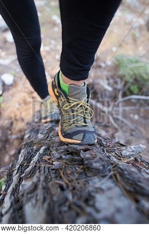 Girl Takes Part In A Hurdle Race, Hurdle Race In The Forest, Female Legs On A Fallen Tree Close-up,