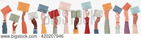Group Of Multi-ethnic Business People With Raised Arms Holding An Envelope. Colleagues Or Co-workers