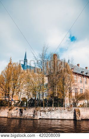 Antique building view in Old Town Bruges, Belgium
