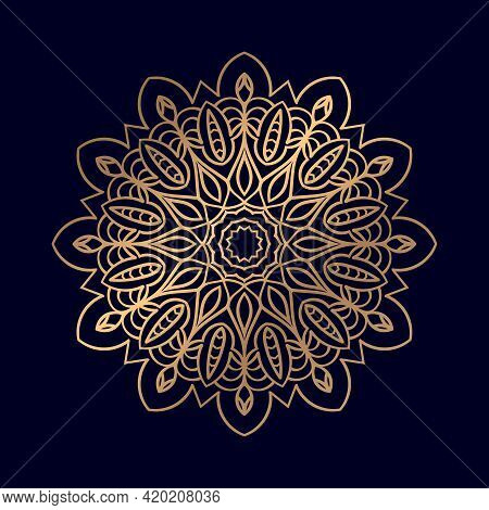 Mandala Ornament In Ethnic Oriental Style. Arabic, Indian, Ottoman Motifs. For Coloring Book Page T-