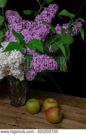 Lilacs Of Different Varieties On A Black Background. Spring Flowers. Lilac On A Dark Background