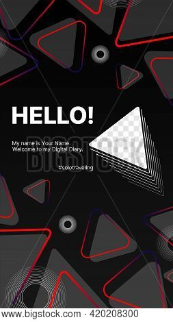 Geometric Modern Digital Banner For Stories. Design For Your Solo Traveling Blog. Put Your Content U