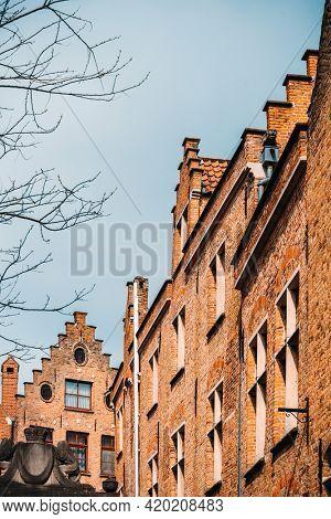 Street view of downtown in Bruges, Belgium