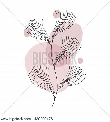 Abstract One Line Art Leaf. Botanical Prints Boho Vector Wall Art Trendy Picture. Bohemian Style Wit