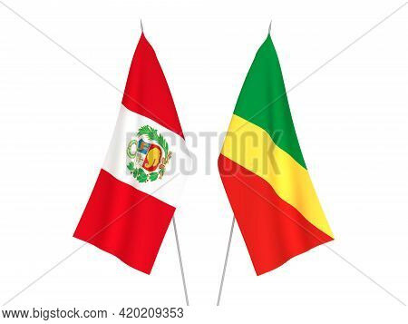 National Fabric Flags Of Peru And Republic Of The Congo Isolated On White Background. 3d Rendering I