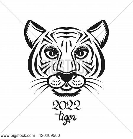 Geometric Tiger Face Symbol Of 2022. Chinese New Year Concept For The Signs Of The Zodiac. Vector Il