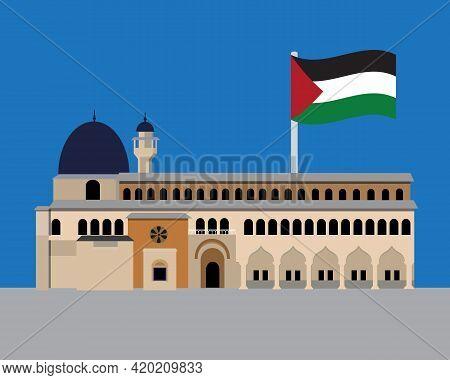 A Vector Of Masjid Al-aqsa With Waving Palestinian Flag. Symbol Of Baitul Maqdis, Al-quds Or Jerusal
