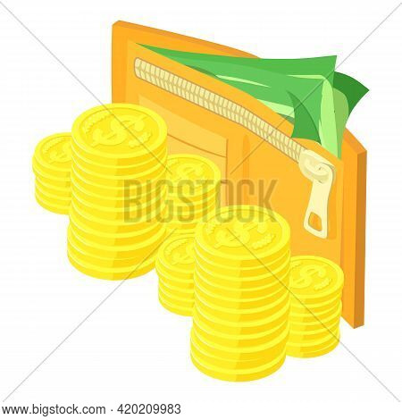 Money Wallet Icon. Isometric Illustration Of Money Wallet Vector Icon For Web