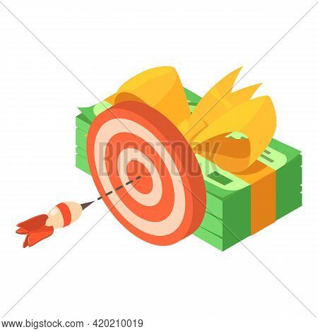 Financial Target Icon. Isometric Illustration Of Financial Target Vector Icon For Web