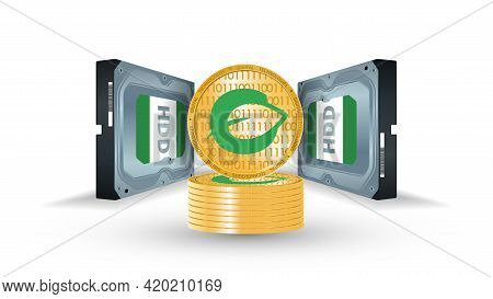 Hard Disk With Coins Of Cryptocurrency Chia On A White Background. Mining On Hdd, Ssd. Concept Of Mi
