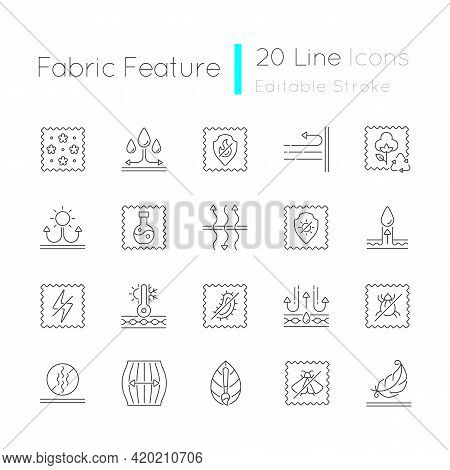 Different Types Of Fabric Feature Linear Icons Set. Fiber Characteristics. Quality Features Of Cloth