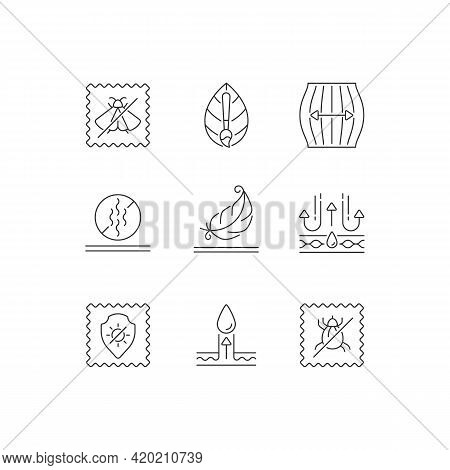 Different Types Of Fabric Linear Icons Set. Natural Dye, Odor Resistant. Uv Protection. Moisture Wic