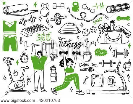 Set Of Hand Drawn Sport Doodle With Ball, Bottle, Medal, Food, Diet, Fitness And Gym Elements. Vecto