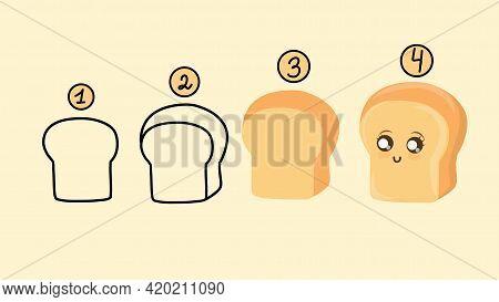 Bread Slice Cartoon. Set Of Slices Toast Bread Isolated On White.