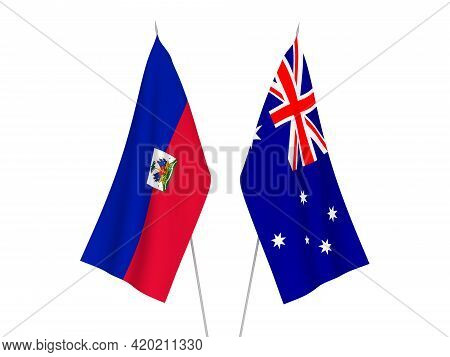 National Fabric Flags Of Australia And Republic Of Haiti Isolated On White Background. 3d Rendering