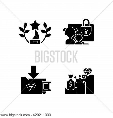 Broadcast Services Black Glyph Icons Set On White Space. Award-winning Content. Parental Control. Of