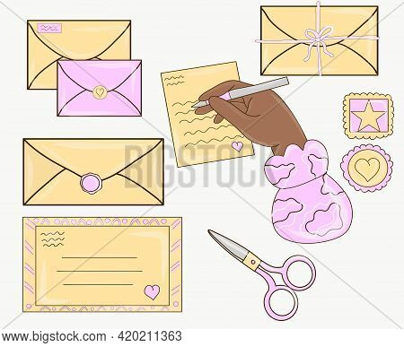 Set Of Craft Envelopes, Letters, Packaging Bags, Post Cards. Paper Letters, Craft Different Envelope