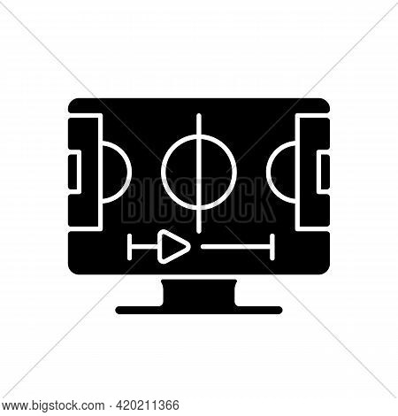Sports Streaming Black Glyph Icon. Watching Live Sporting Events. Football, Basketball And Baseball