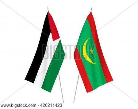 National Fabric Flags Of Palestine And Islamic Republic Of Mauritania Isolated On White Background.
