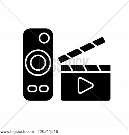 Movies Streaming Black Glyph Icon. Moving Picture On Television. Tv Shows Online. Theatre-style Movi