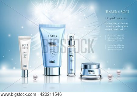Cosmetics Creams And Essence, Ad Composition On Blue Blurred Background With White Feather, Pearls,