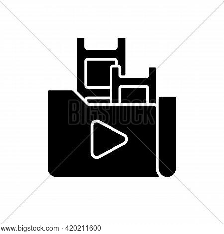 Streaming Service Library Black Glyph Icon. Films And Television Shows Collection. Media Content. On