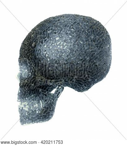 Side View Of An Abstract Translucent Carved Skull, 3d
