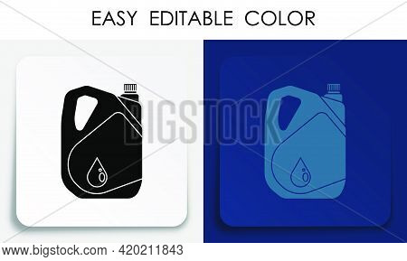 Car Oil Canister Icon On Paper Square Sticker With Shadow. Stable Machine Engine Operation. Car Main