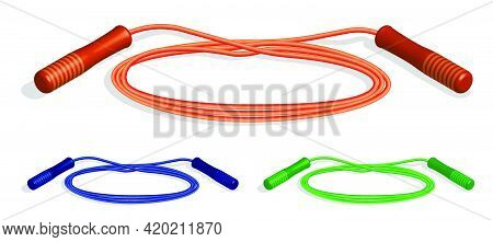 Realistic Sports Jump Rope For Indoor And Outdoor Activities. Cardio Endurance Exercise. 3d Vector