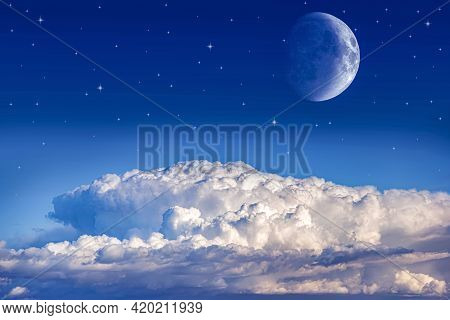 Bitter Sky With A Moon And A Star , Crescent Moon With Beautiful Sunset Background . Bright Sky . Su