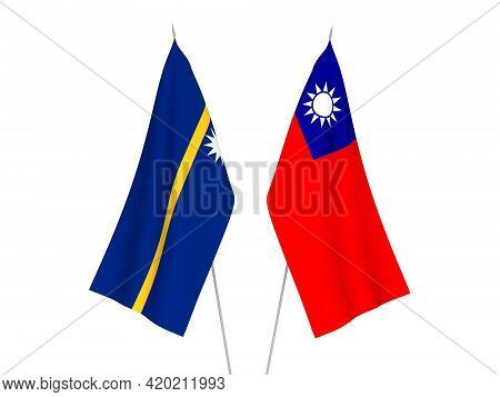 National Fabric Flags Of Taiwan And Republic Of Nauru Isolated On White Background. 3d Rendering Ill