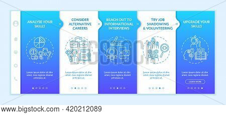 Career Change Steps Onboarding Mobile App Page Screen With Concepts. Personal Upgrade Tips Walkthrou